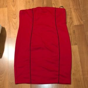 Red and Black Strapless Plus Size Forever 21 Dress